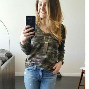 Cold Shoulder Camo Sweater